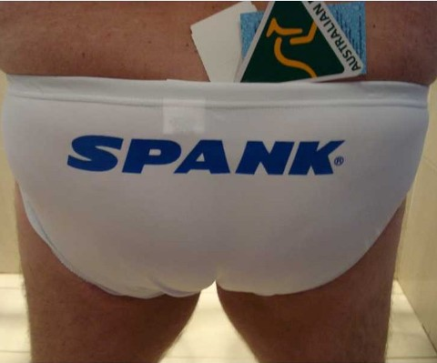 "34"" White Spank Blue Logo - Click Image to Close"